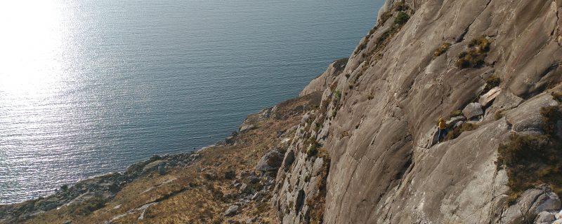 Multipitch Climbing on the Main Wall at Diabaig