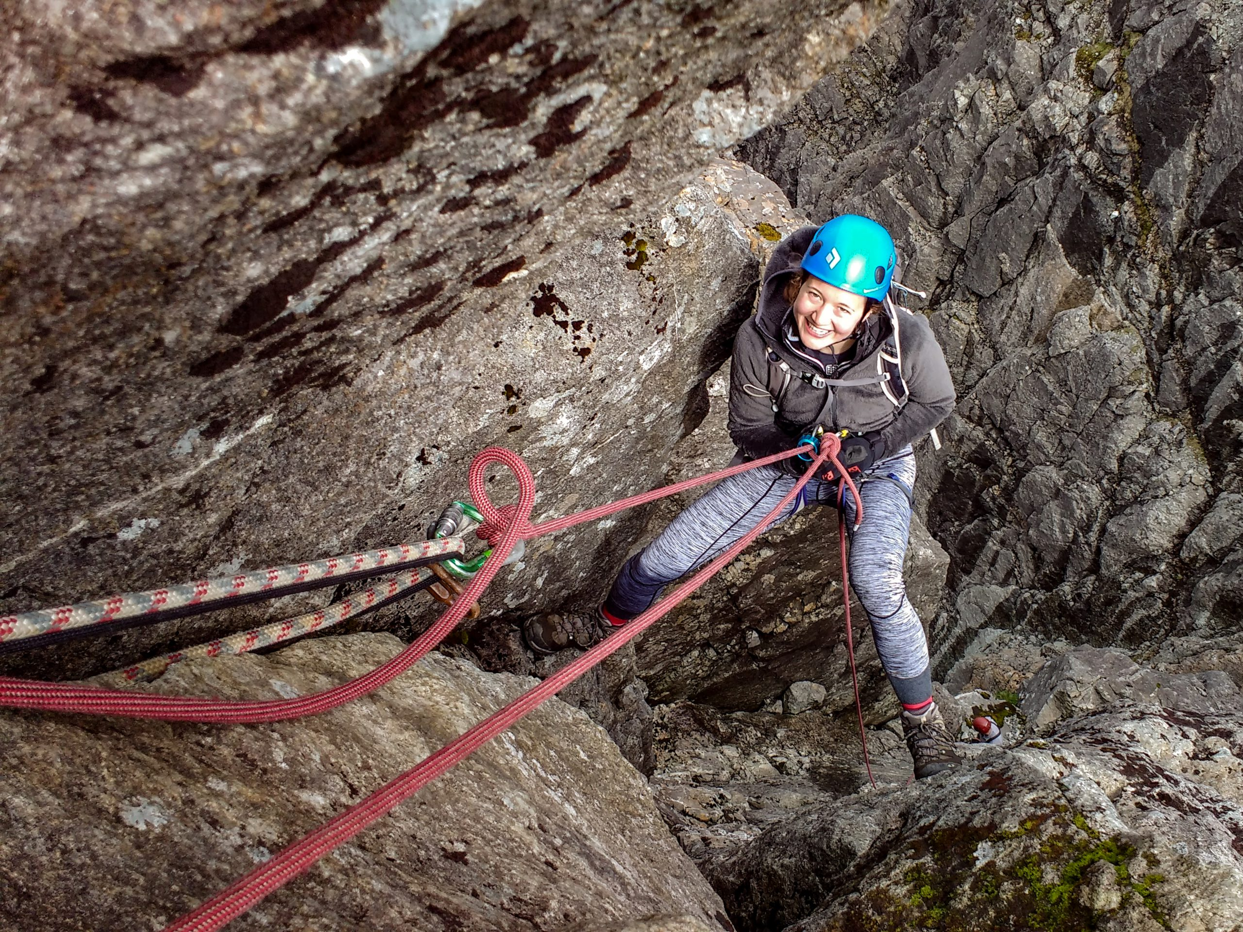 Backed up abseil for novice
