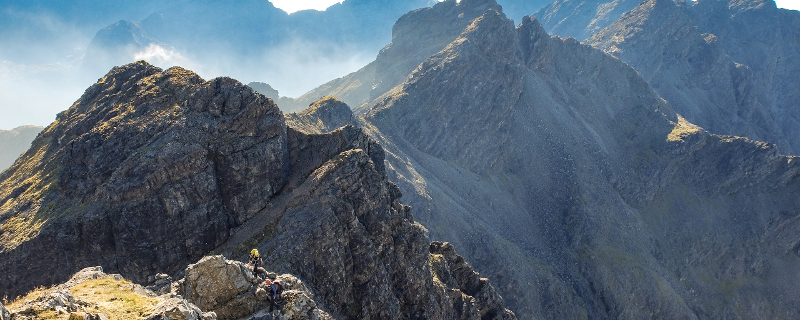 Scrambling after An Caisteal while on a Cuillin Ridge Traverse