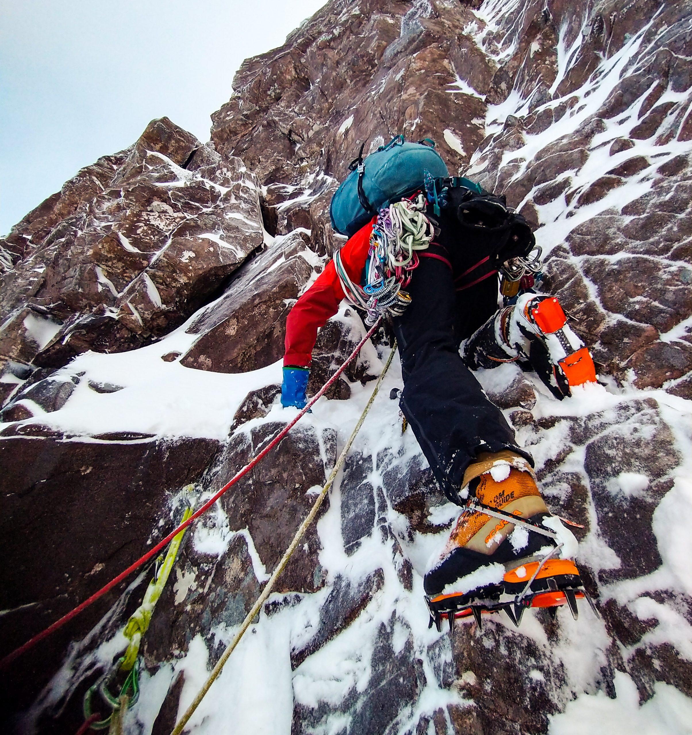 Winter Climbing on Piggots Route Beinn Eighe