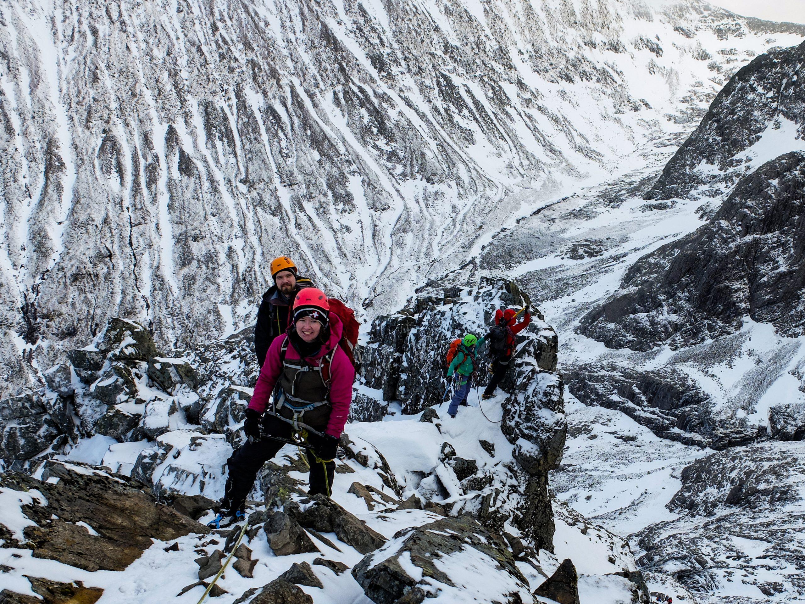 Climbing Ledge Route on Ben Nevis