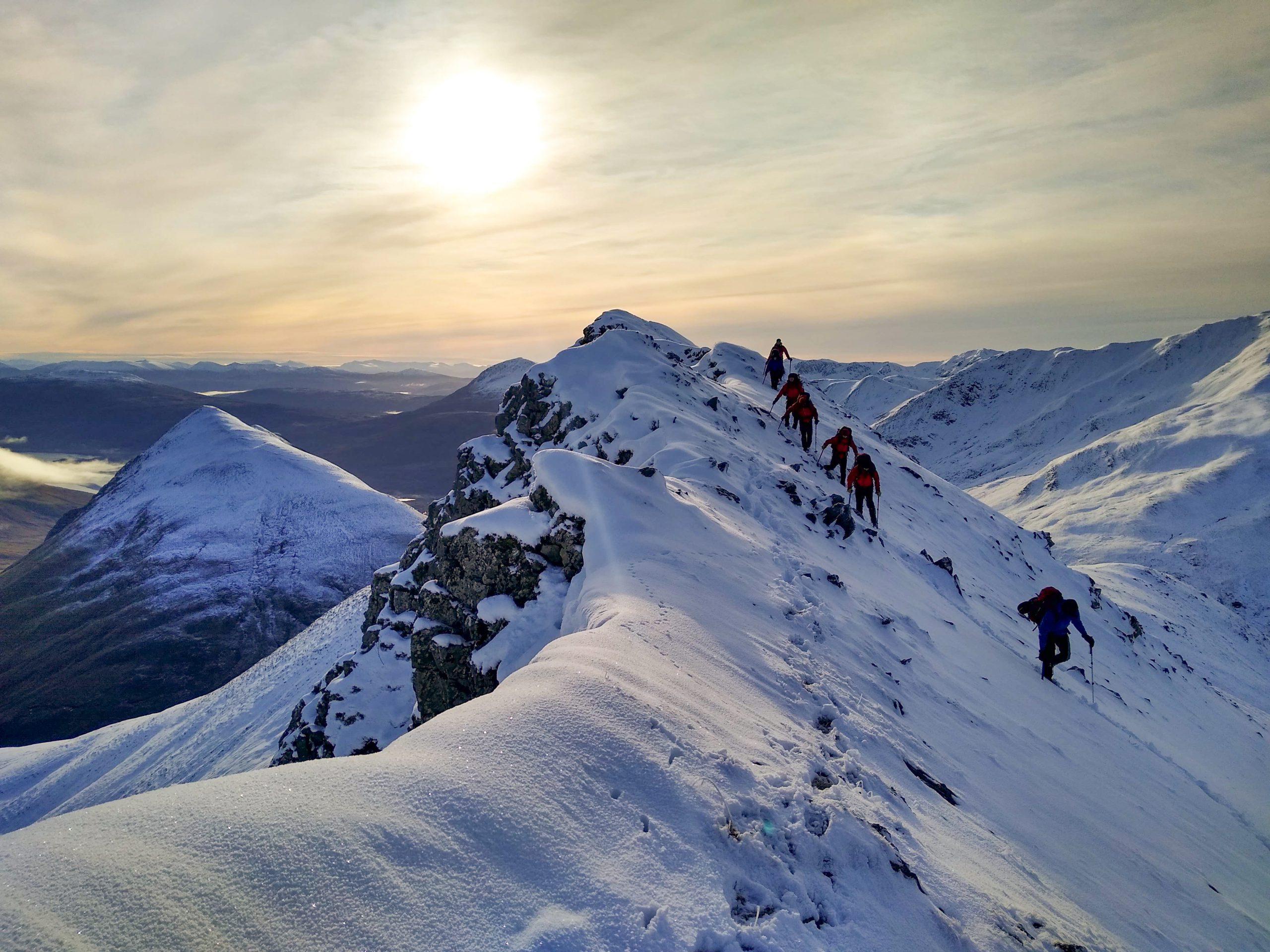 Traversing a ridge line in winter