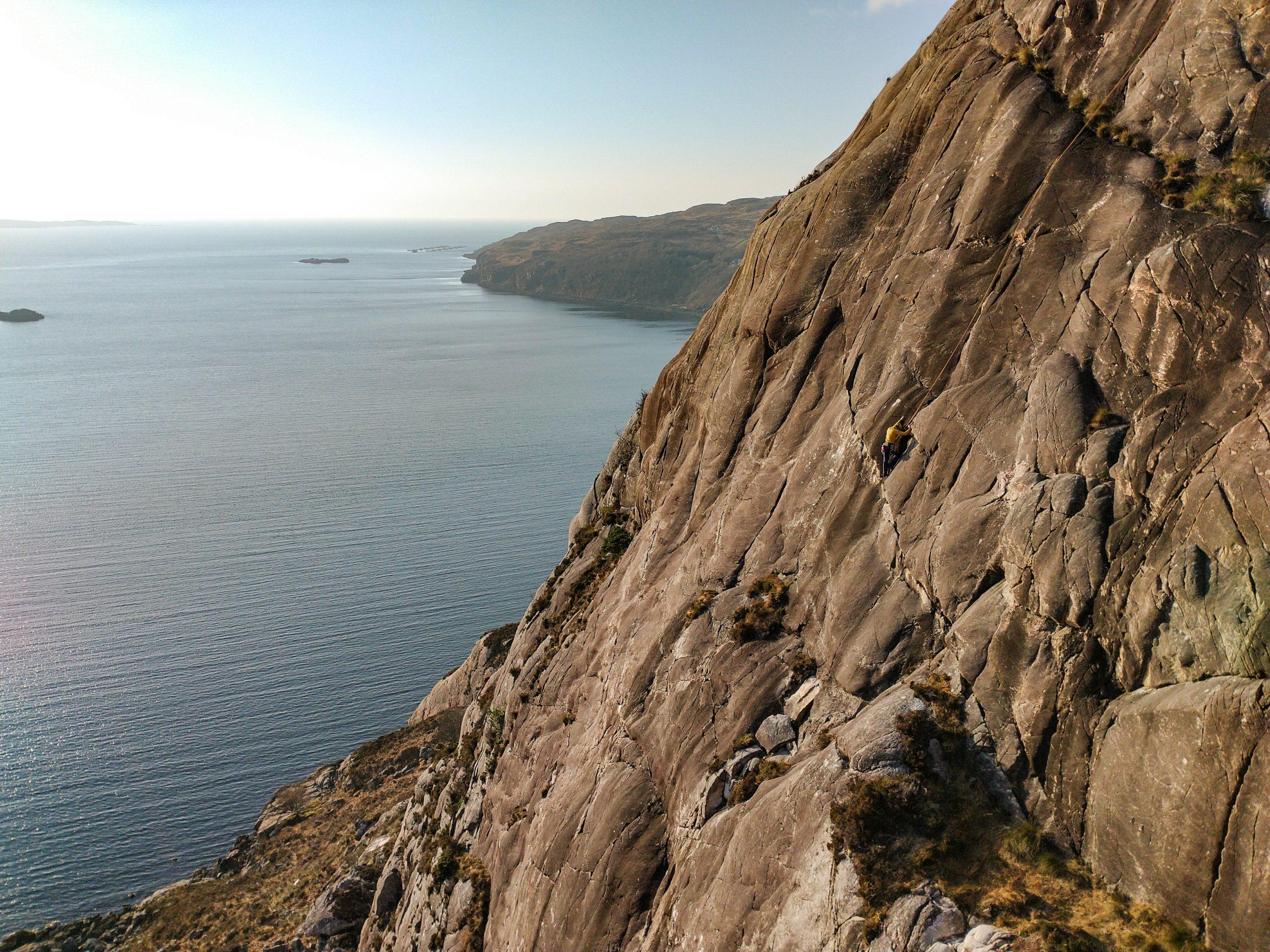 Multi-pitch rock climbing at Diabaig